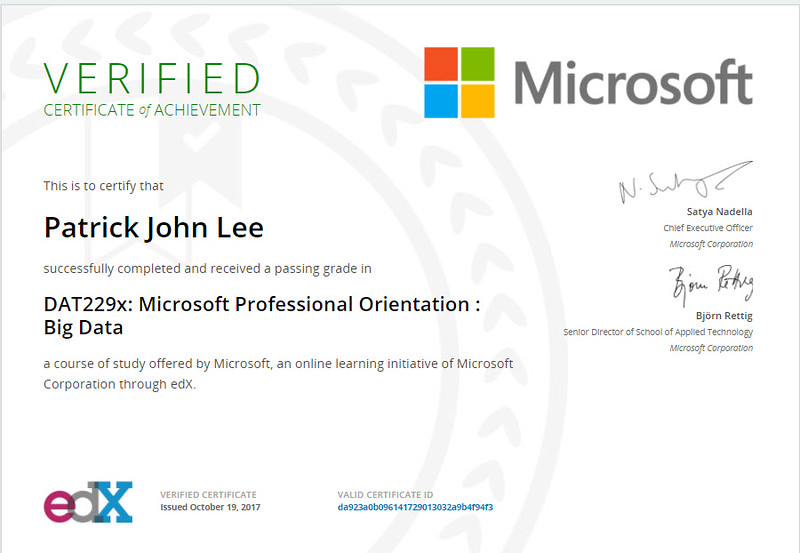 Patrick J Lee Microsoft DAT229x Course Certificate (Orientation: Big Data)