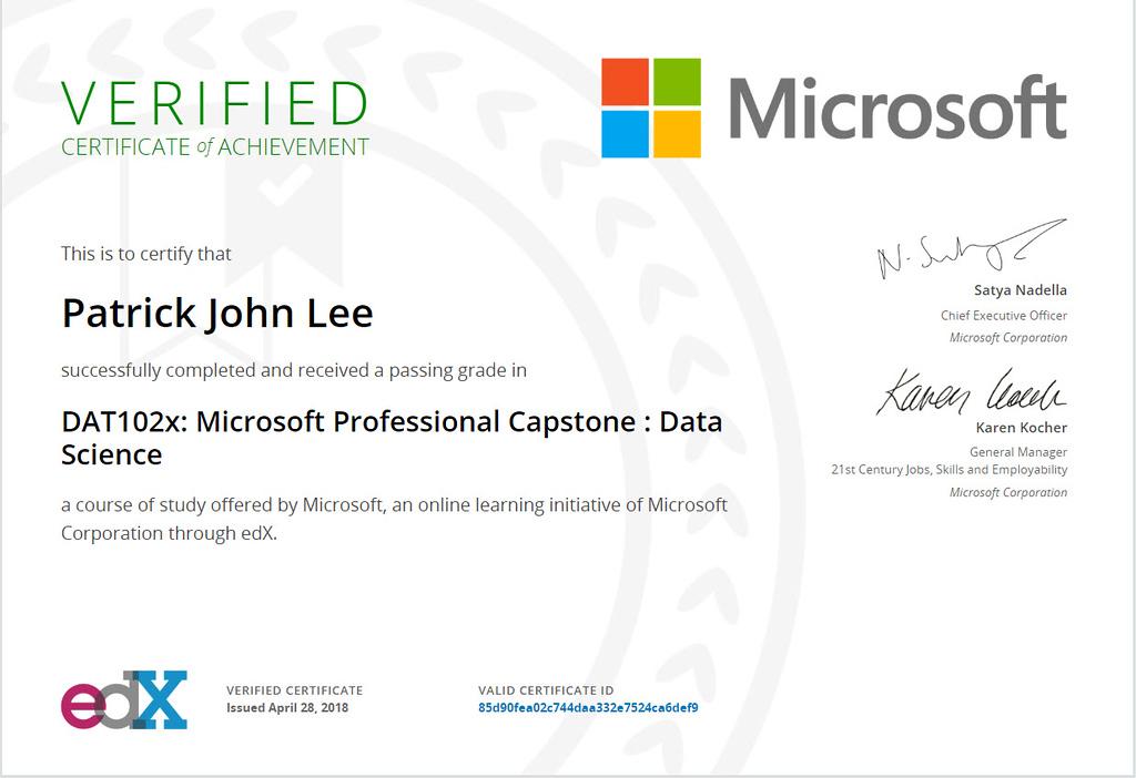Patrick J Lee Microsoft DAT102x Course Certificate (Microsoft Professional Capstone: Data Science)