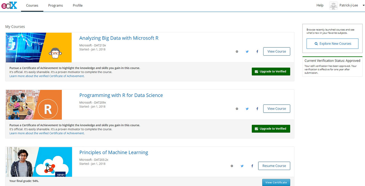 Patrick J Lee Microsoft DAT203.2x course mark: 94% (Principles of Machine Learning)