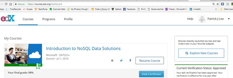 Patrick J Lee Microsoft DAT221x Course Final Mark (98%) (Introduction to NoSQL Data Solutions)