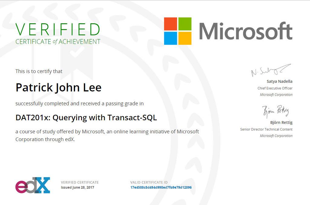 Patrick J Lee Microsoft DAT201x Course Certificate