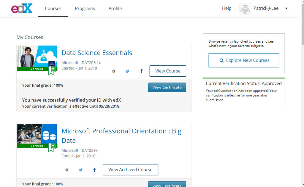 Patrick J Lee Microsoft DAT203.1x course mark: 100% (Data Science Essentials)
