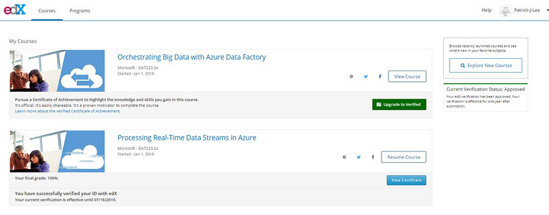 Patrick Lee Microsoft DAT223.2x Processing Real-Time Data Streams in Azure Final Mark (100%) Feb 2019