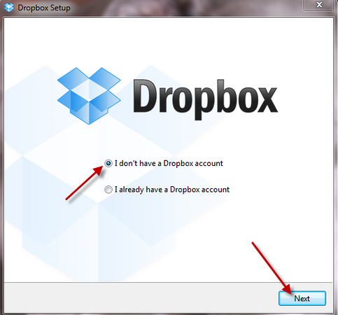 "If (as is likely) you haven't already registered with the Dropbox website, select the ""I don't have a dropbox account"" option and click next, in which case you will be prompted to enter your surname, first name, email address and a password to use for your free Dropbox account - please do so and then got o the next screenshot in this tutorial)."