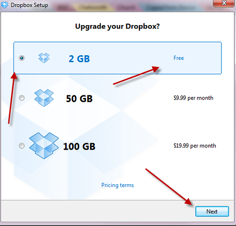The majority of Dropbox users (including me so far) find the free version perfectly adequate, so select that at this stage (you can always upgrade later if you want to/need to), and click Next