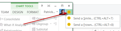 "A nice feature of Office 2013 (or perhaps it is just the Preview? I hope not, and that they keep it!) is the ""Send a Smile or Frown"" button in the top right which enables you to send instant feedback (complete with a screenshot if you like) to Microsoft.  I used this several times over the last week, mainly with Smiles but also a couple of Frowns :)"