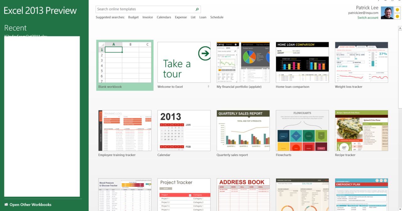 This is the initial screen when you open Excel 2013 Preview.