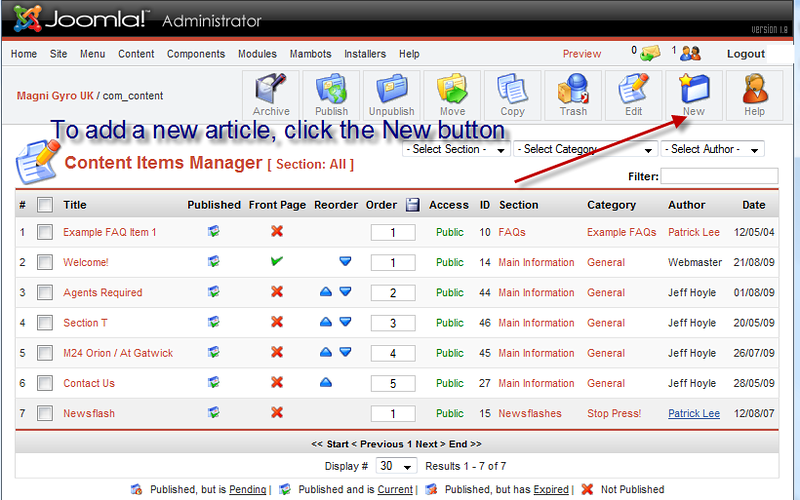 Within Joomla's Content Manager, click the New button to create a new article.