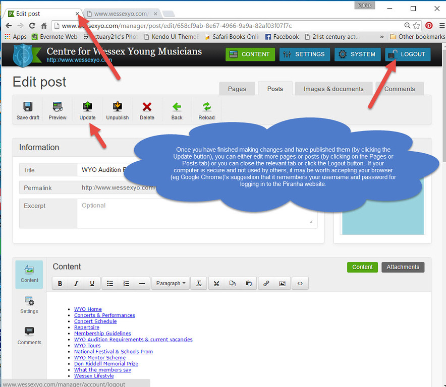 Editing Piranha Websites Step 7: carry on editing or close the tab or logout when you've finished
