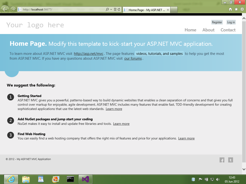 The home page for an example  ASP.NET MVC4 (Model View Controller) website, again, visually very appealing.