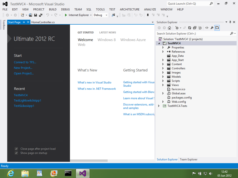 A screenshot of Visual Studio 2012 RC installed on a pc running Windows 8 Release Preview: visually stunning, imho.