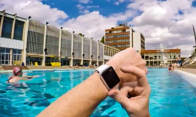 This Apple Watch user completed his 1200 meter swim wearing his Apple Watch. No issues after the swim. His friend also was Diving from the 3 meter Diving Board, no issues with his Apple Watch either. Although Apple guarantees IPX7 water resistance which is 1 meter for 30 minutes or less, apparently others are pushing the limits of the Water Resistance of the Apple Watch.