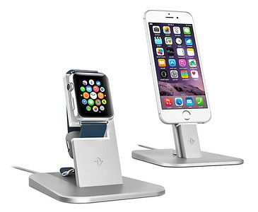 This is made by TwelveSouth  (http://www.TwelveSouth.com)  where one places their AppleWatch on the stand for charging. It uses your charging cable packed with the Apple Watch. I purchased the Black version. This is a very convenient holder for the Apple Watch, as there is no jiggling for alligning of the magnetic-disk onto the back of the Apple Watch.