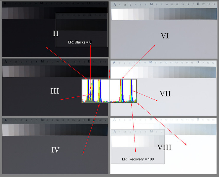 """Here are the remaining six exposures, again with no adjustments or color correction to the images. Aperture was held constant at f/11; shutter speed varied in one-stop increments.  Notice that the variation between exposures is <em>not</em> linear, which I wouldn't expect it to be. (Digital sensors are more responsive to higher light levels.) Alan found that Zone VII-1/2 was the highest placement that would retain highlight detail; that's confirmed here, where the Zone VIII exposure is just plain blown out. At the low end, though, there is still a bit of room between the Zone II exposure and absolute black (much more visible on the original, and in a print, than it is here). The exact gray-scale value for each exposure is given in image #4 of this series.  I also wanted to quantify what Lightroom adjustments could do to """"rescue"""" the highest and lowest exposures. As shown in the insets, the Black slider, moved from its default value of 5 to 0, lightened the gray card to about Zone II-1/2; the Recovery slider, moved from its default of 0 all the way to the right, lowered the gray card essentially one full stop, with some useful extra detail showing in the gray scale. Again, this is with RAW files; I wouldn't expect JPEGs to be as forgiving.  My take-away from this: exposure for digital shooting really is similar to transparency film, as I've read many times. Even knowing that I've got a little bit of leeway at the top, I'll definitely keep important highlights within the range that Alan recommended."""