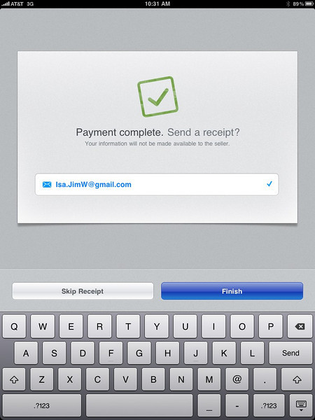 The Buyer is offered a COPY of their Credit Card Receipt, simply by inserting their email address; Within a few minutes the Buyer will beceive an email with a Link which will display the complete Transaction, including a Google type map pin-pointing the location of the Sale, and the sales data, and their signature.
