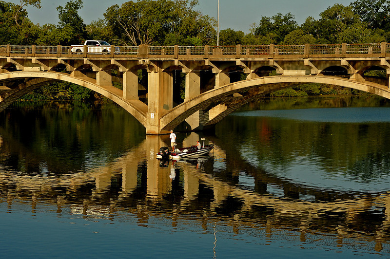 Fishing on Lady Bird Lake at the Lamar Street bridge