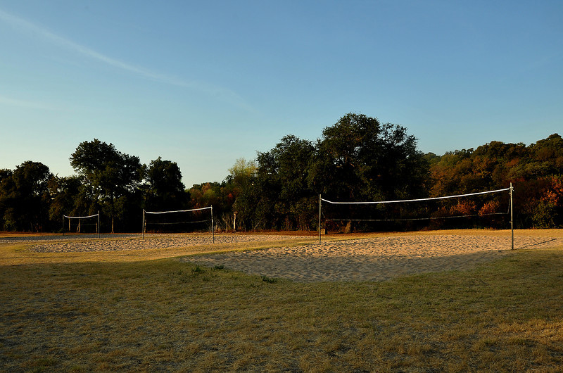Volleyball pits in Pease Park