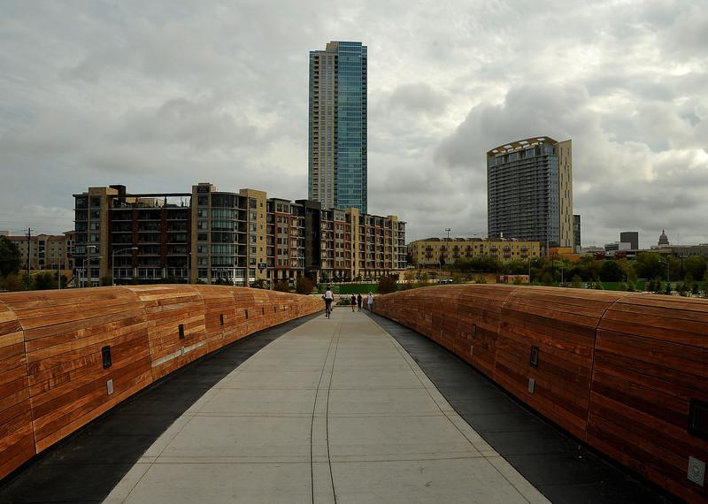Lamar Pedestrian Bridge looking north toward capitol