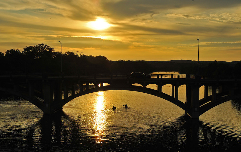 Lady Bird Lake sunset from Lamar Pedestrian Bridge