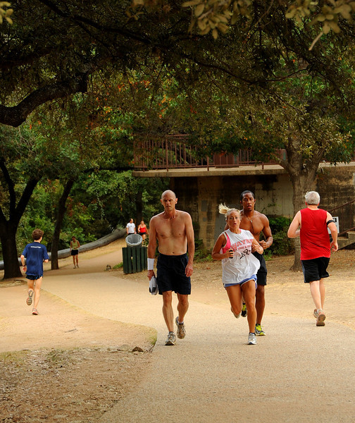Joggers on the Lady Bird Lake Hike and Bike Trail
