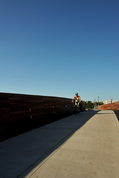 Biker on Lamar Pedestrian Bridge