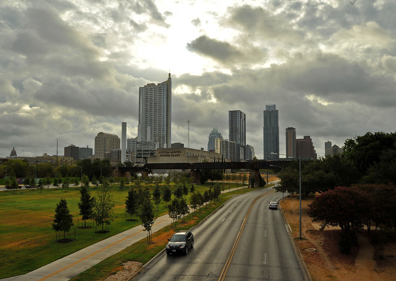 Austin skyline from Lamar Pedestrian Bridge over Cesar Chavez