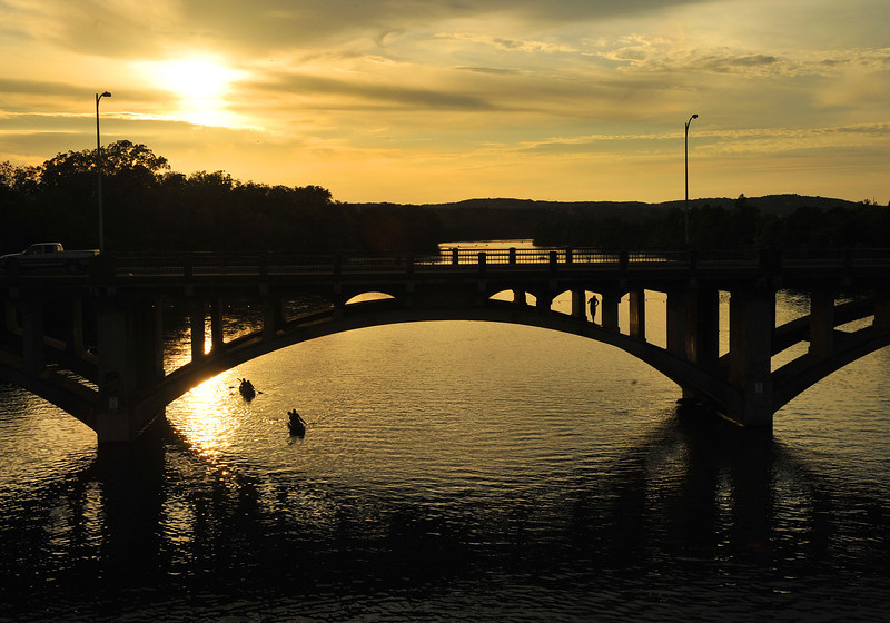 Sunset on Lady Bird Lake from the Lamar Pedestrian Bridge