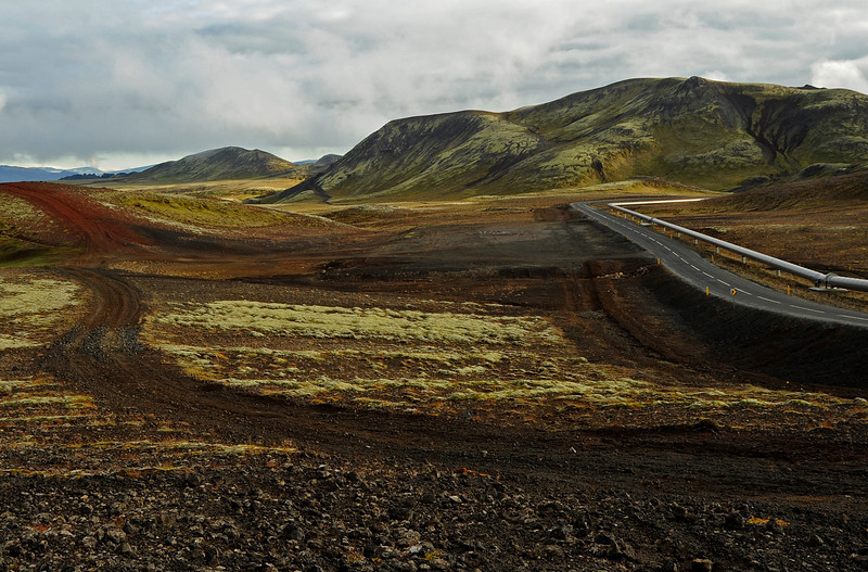 Geothermal pipeline bordering highway near Reykjavik, Iceland, Sep 2010