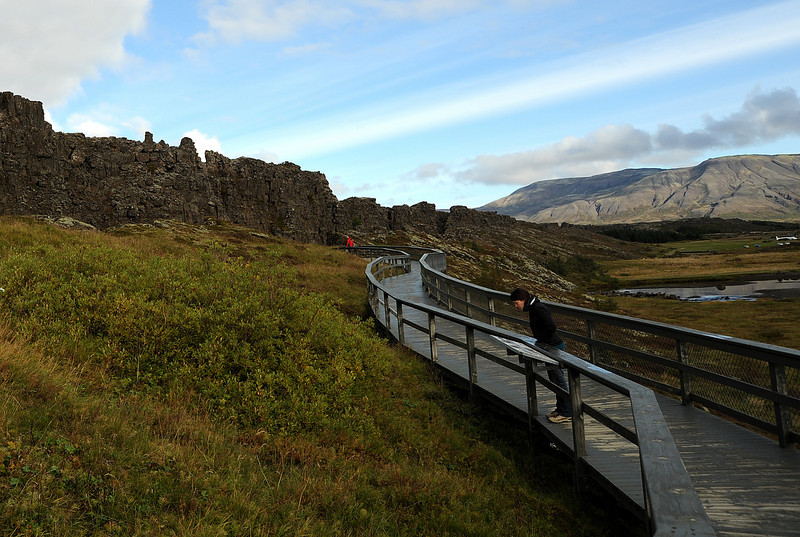 þingvellir NP, Iceland, Sep 2010<br /> <br /> This valley represents the most exposed rift of two tectonic plates in the world other than the Great Rift in Africa. Here the two mid-Atlantic plates (the North American and the Eurasian) are pulling apart at a rate of 2 to 3 centimeters per year. This rift divides Iceland down the middle, with half of the country in North American and the other half in Europe.