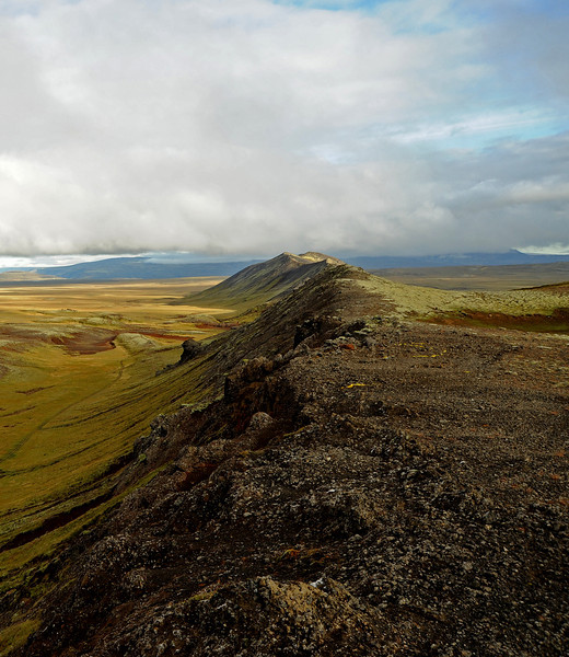 Volcanic ridge near Reykjavik, bordered by tundra valleys, Iceland, Sep 2010