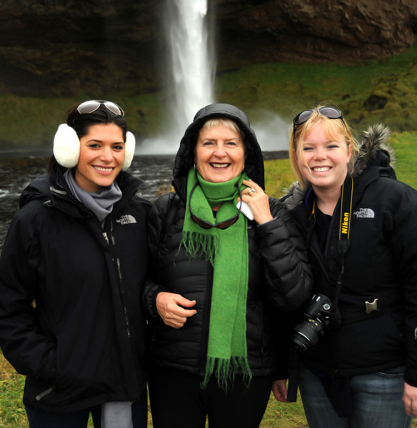 Britney Fox and Megan McFadden with Virginia, Selfoss waterfall, Iceland, Sep 2010