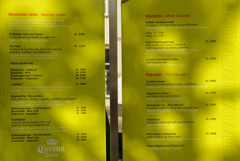 Tabasco's menu, Reykjavik, Iceland, Sep 2010