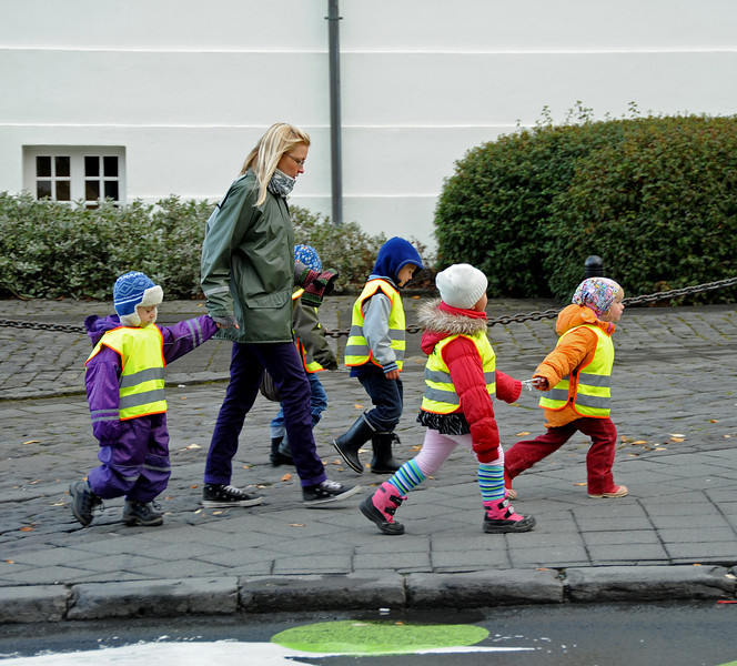 Children walking to school, Reykjavikk, Iceland, Sep 2010