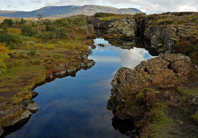 þingvellir NP, Iceland, Sep 2010<br /> One of the water-filled fissures in the valley floor