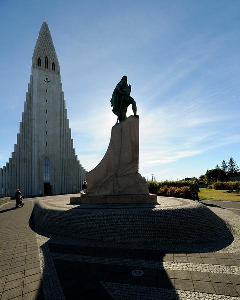 Hallgrimskirkja with statue of Leifur, Reykjavik, Iceland, Sep 2010