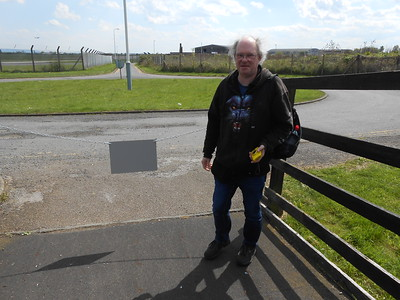 Pic by Liz : On way out we found our way blocked see next pic to see what the sign said