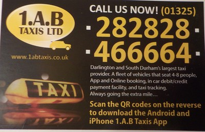 This is the Cab firm we used to get back free phone in the Arrivals Terminal about £12 to Darlington