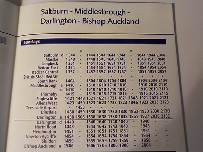 The K denotes the one train a week to Teesside Airport from Hartlepool  New to Smugmug??   To read the print clearly / make the picture bigger:   Best way to read it if you new to Smugmug  Put your mouse pointer over the centre of pic and   Double click which blows it up.   Then in the Bottom RIGHT-hand corner   There is a RESIZE BUTTON so select size you want.   To cancel and come back just click the big X in the top right-hand corner