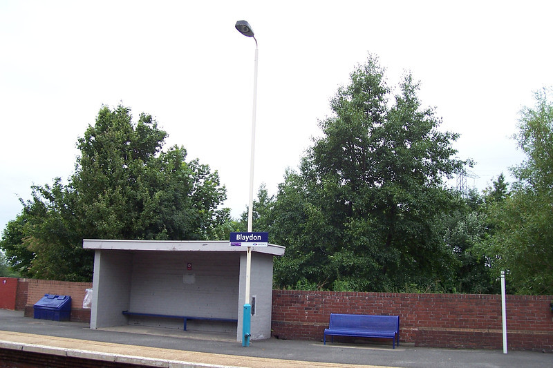 Picture by Liz:<br /> <br /> Blaydon even had a waiting shelter on both Platforms benches & Litter bins