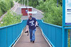 Picture by Liz:<br /> <br /> The Ghost Station Man is caught lugging his <br /> <br /> Nikon D80 up the Ramp at Dunston