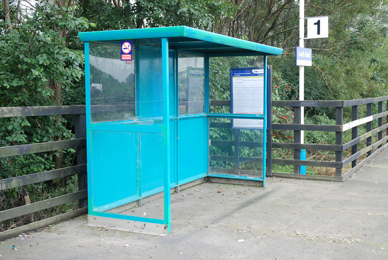 You get the luxury of a waiting shelter on Platform one many<br /> <br />  a time Liz has sheltered in there when we first started going out <br /> <br /> while i was on the platform getting pics of the Coal & steel trains<br /> <br /> 9th Sept 2008