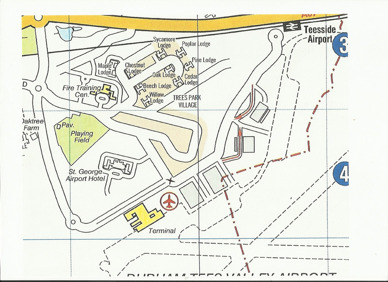 This map shows <br /> <br /> The area around Teesside Airport and the Service Road that Links the Station to the outside world and the Main Terminal building. <br /> <br /> Which by the way you cant actually access without a very, very long walk as you will see basically the Black X marks where you used to be able to access the Terminal building car Park which is now gated off and also where we walked back from / the start of the Gallery pics that follow this enjoy <br /> <br /> to blow the map up bigger <br /> <br /> put mouse pointer over picture <br /> <br /> double click <br /> <br /> pic blows up <br /> <br /> Then select in bottom right hand corner the re size button