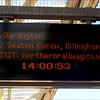46 sec video of display board at Hartlepool showing one Train a week to Teesside Airport
