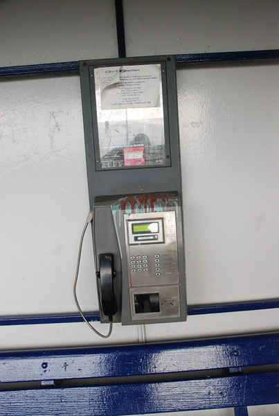 The usual bog standard old style BT card phone that you get on <br /> <br /> most Ghost Stations<br /> <br /> As I said to Liz i'd hate to ring for a taxi from here because of it's out <br /> <br /> of way location they would probably never find ya check out the <br /> <br /> accompanying gallery of the walk from the station to the Airport <br /> <br /> Terminal to see what I mean