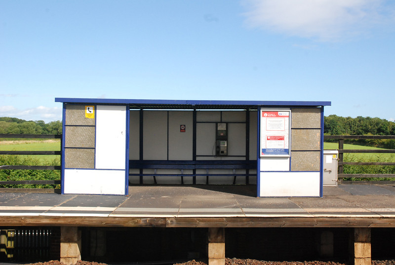 Shot of the only shelter on the whole station on platform 2