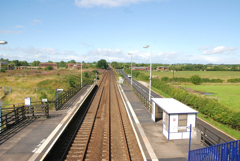 Shot of the station platforms from the footbridge