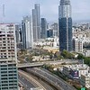Going north on the Ayalon with Ramat Gan on the right side,  with the Diamond Exchange and the new skyscrapers in the center.