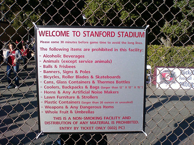 Things you cannot bring to Stanford Stadium