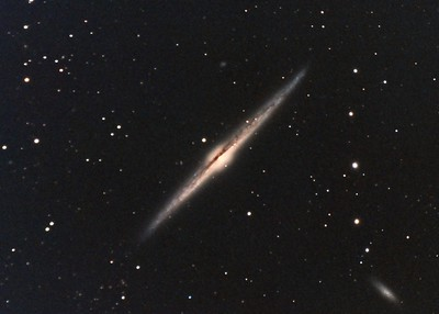 "NGC4565: Needle Galaxy in Coma Bernice, 20 x 10 minutes, F/10, 5/19/2012. Celestron 8"" EdgeHD with Astro-Physics Mach1GTO GEM. SXVR-M25C. Hutech OAG. Lodestar. Complete processing with PixInsight including dark subtraction. PHD settings: RA Aggressiveness: 60, RA Hysteresis: 10, Max Dec Duration: 75, Min Motion: 0.50, Calibration Steps: 100msec, Auto/Resist Switching, Extreme dithering and Settled at < 0.5, 3 sec guiding exposure."