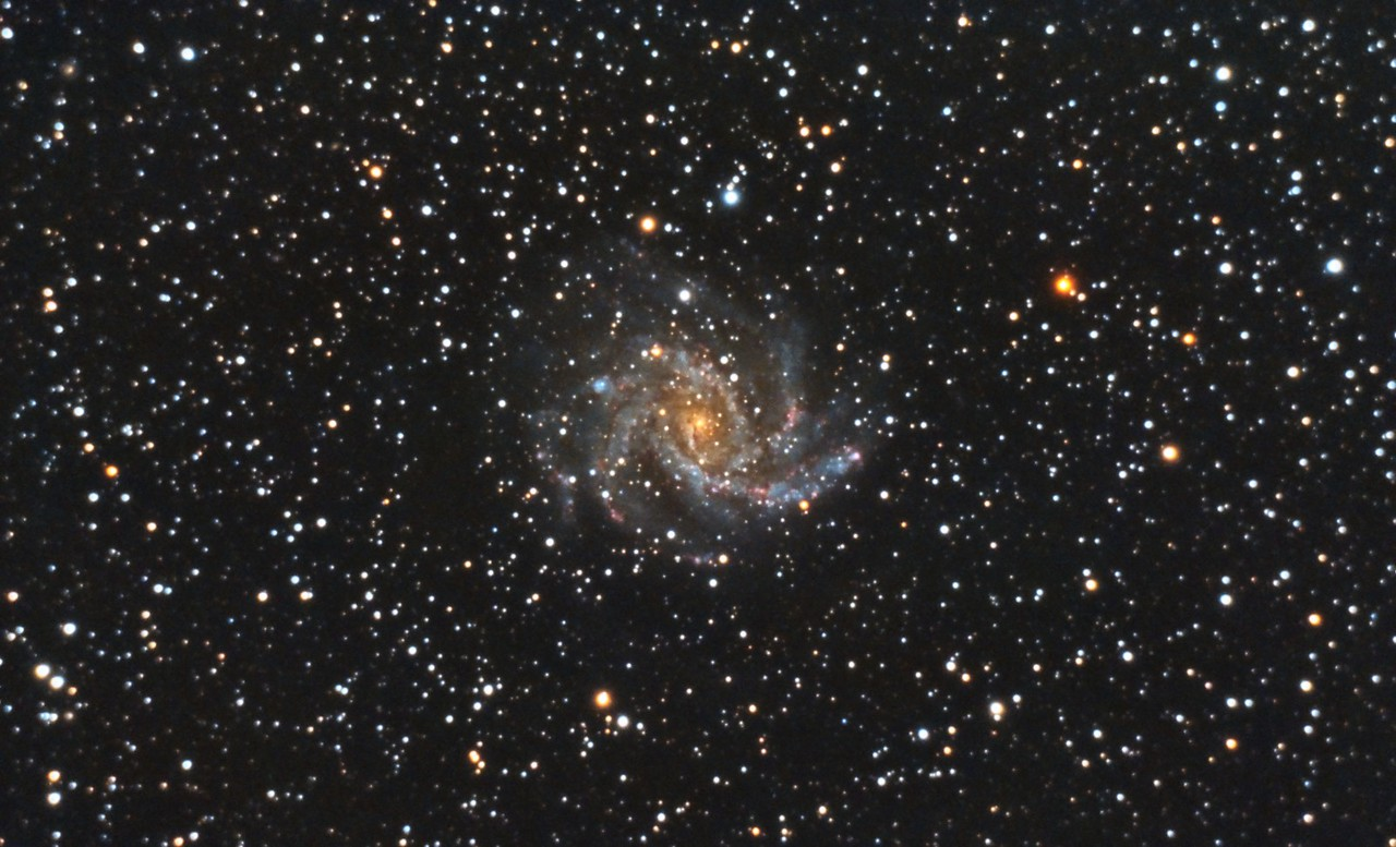 NGC6946, Firecracker Galaxy. 7/2/2011. CPC0800 F/10. Mitty Wedge. SXVR-M25C. IDAS LPS Filter. Hutech OAG. Lodestar. 29 x 10 minutes. Total 290 minutes. Pre-Processed (BPM, Bias, Flats Calibration and Debayer) with Nebulosity. Stacked and Post-processed with PixInsight. PHD settings: RA Aggressiveness: 90, RA Hysteresis: 10, RA Max Duration: 600, Dec Max Duration: 700, Min Motion: 1.00, Calibration Steps: 500msec, Auto/Resist Switching, Dithering: Extreme and Settle < 0.5, 1.0 sec guiding exposure.